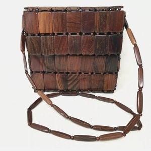 Vintage Wood Beaded Shoulder Purse